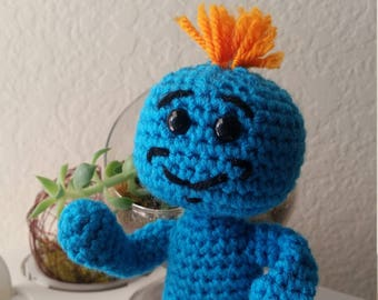 Mr Meeseeks Amigurumi, Rick and Morty Crochet Plushie
