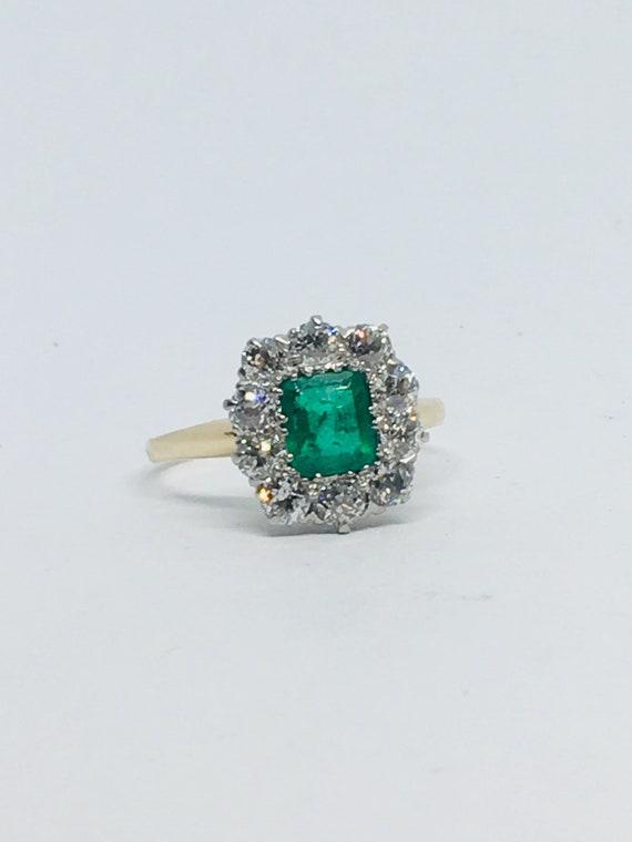 Vintage estate emerald diamond ring,solitaire ,sta