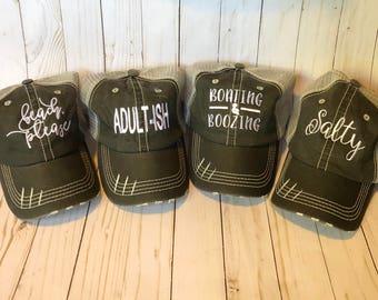 74c3373f sassy hat, funny hat, beach please, adult-ish, salty, resting beach face,  boating & boozing, area code, mermaid smoke seaweed, custom hat.