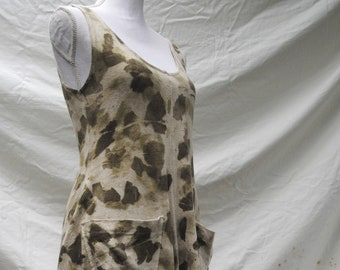 Small eco-print, naturally dyed dress // organic, eco-friendly design