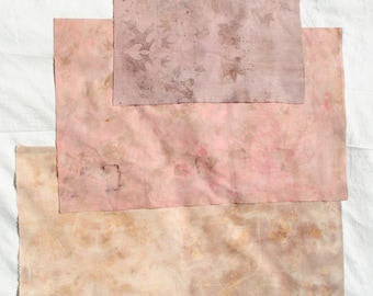 Peachy dream // Naturally dyed fabric scrap pack for slow stitching and patchwork // pack 8