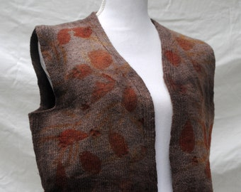 S-M Pure wool vest // naturally dyed eco-print