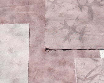 Earthy pinks // Naturally dyed fabric scrap pack for slow stitching and patchwork // pack 6