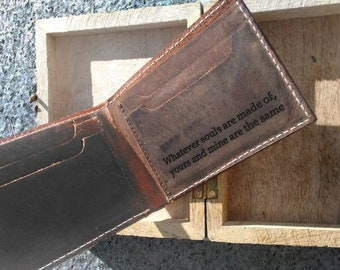 mens wallet, genuine cowhide leather, minimalist bifold style, wooden gift box available, personalized wallet, mens gift, christmas
