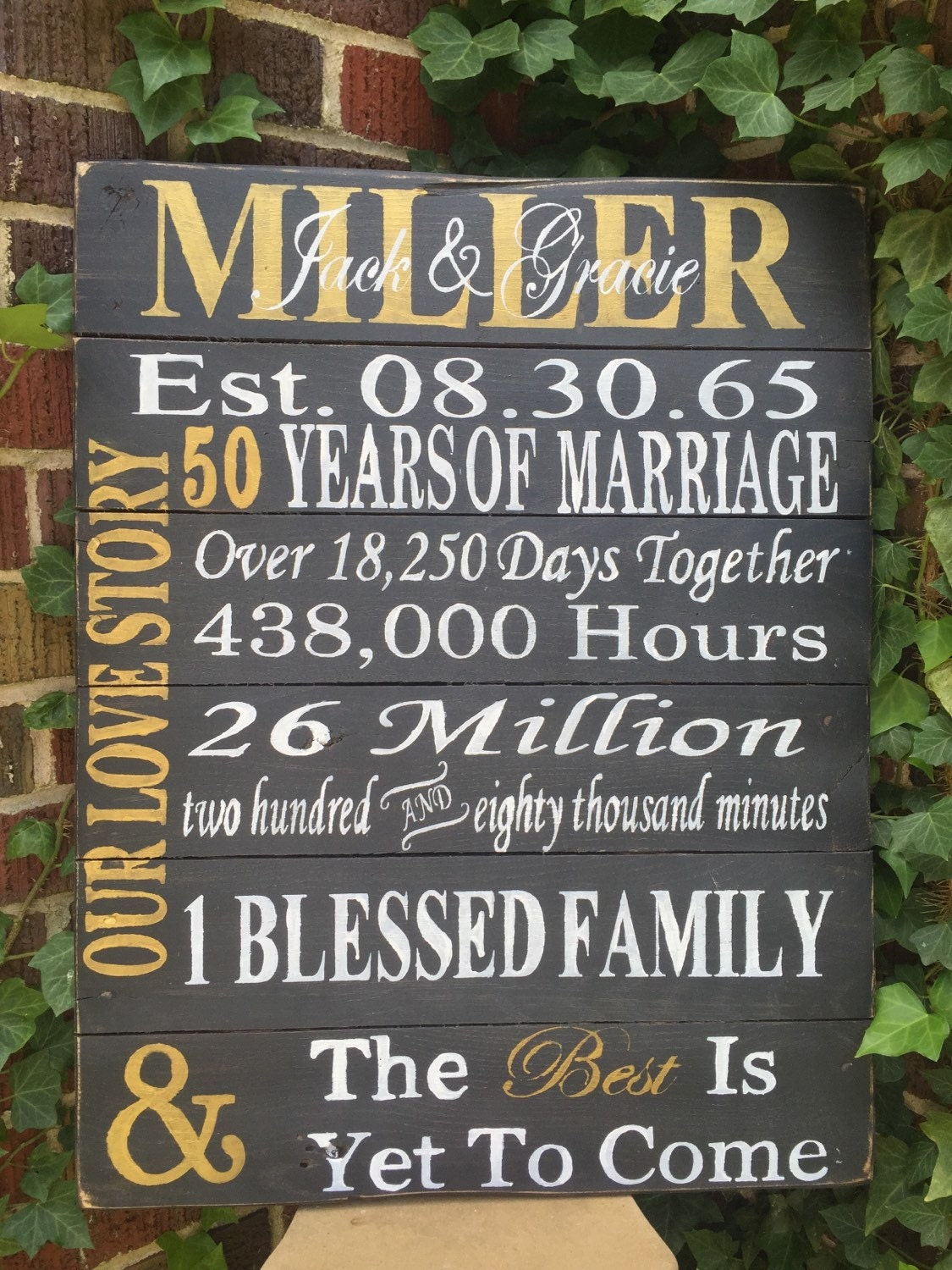 50th Anniversary Wedding Wood Sign Distressed Wood Sign Etsy