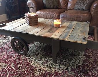 Attirant Cart Coffee Table, Coffee Table, Industrial Coffee Table, Rustic Coffee  Table, Table
