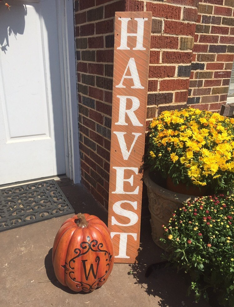 Harvest Sign On Barnwood For Fall Front Porch Decor: Harvest Sign Fall Sign Fall Decor Fall Distressed Wood