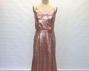 Sheath Spaghetti Straps Rose Gold Sequin Long Bridesmaid Dress