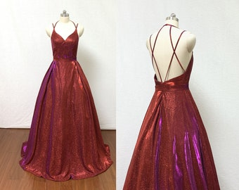 27f96011e2f Spaghetti Straps Burgundy Glitter Long Prom Dress Ball Gown