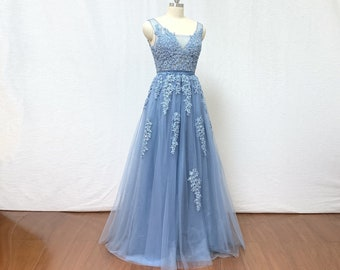 7f374f354a Dusty Blue Lace Tulle Long Prom Dress Bridesmaid Dress