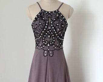 a0857d57308 Sexy Backless Spaghetti Straps Grey Purple Chiffon Beaded Long Prom Dress  with Long Train