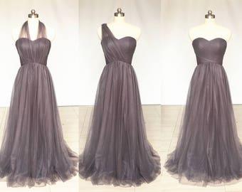 0b8778dfa28 Grey Sweetheart Chiffon Tulle Long Convertible Bridesmaid Dress