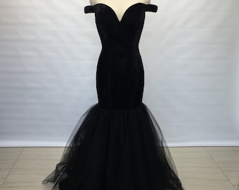Off the Shoulder Black Velvet Tulle Long Prom Dress 2018 Mermaid 0eb75d517440