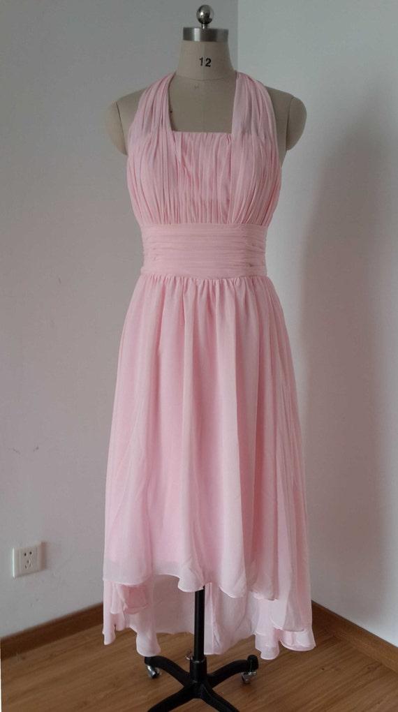 Halter Blush Pink Chiffon Short Front Long Back Bridesmaid Dress