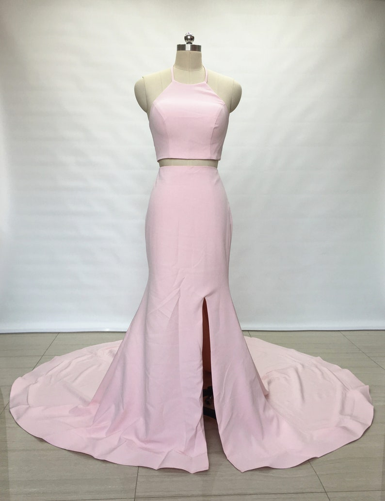 56cbadb23480 Two Piece Blush Pink Elastic Satin Long Prom Dress with Slit | Etsy