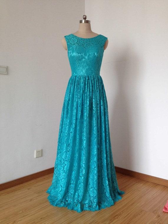 Scoop Sweetheart Teal Lace Long Bridesmaid Dress