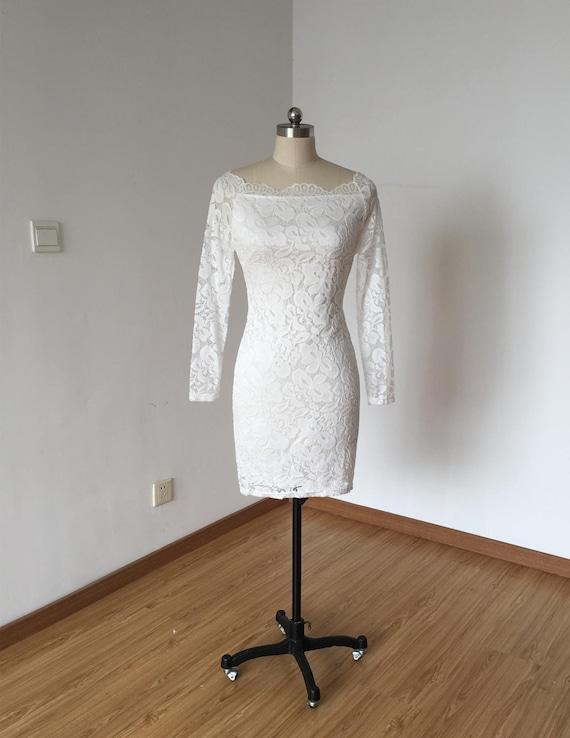 Sheath White Lace Short Wedding Reception Dress With Long Sleeves