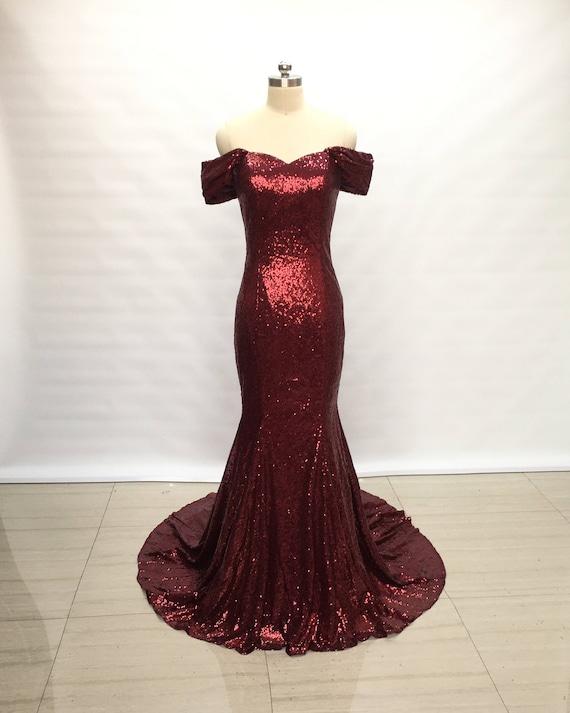 2baeb6493e Off Shoulder Burgundy Sequin Long Prom Dress Mermaid