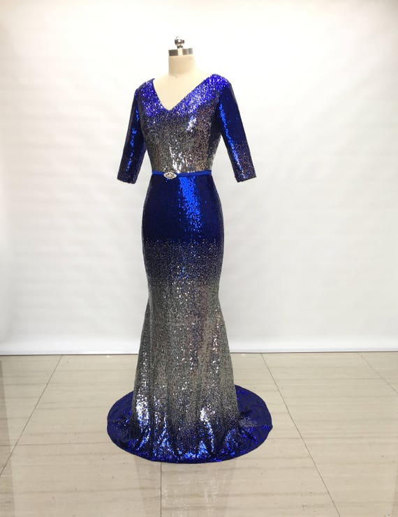 Mermaid V Neck Royal Blue Mix Silver Sequin Long Prom Dress Etsy