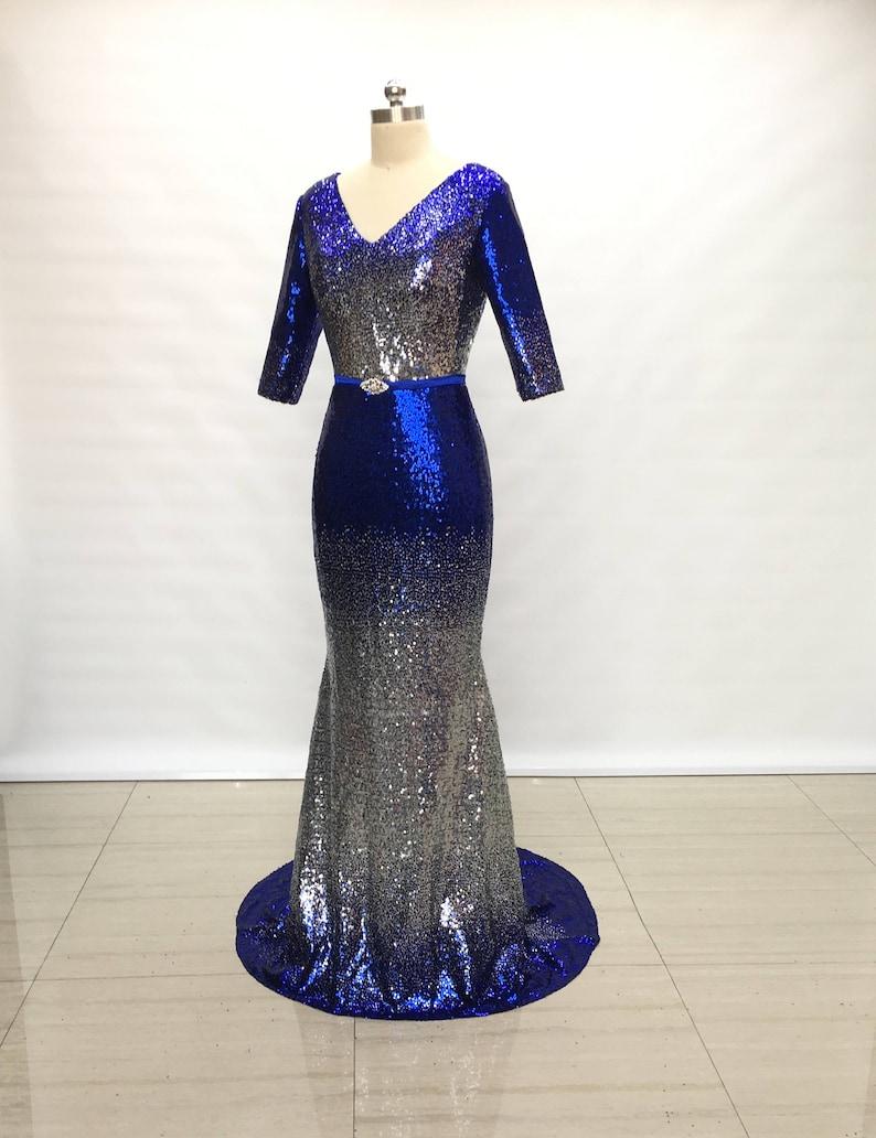 c453f038272e Long Dress | Blue Sequin Fabric | Black Ruffles | SequinQueen