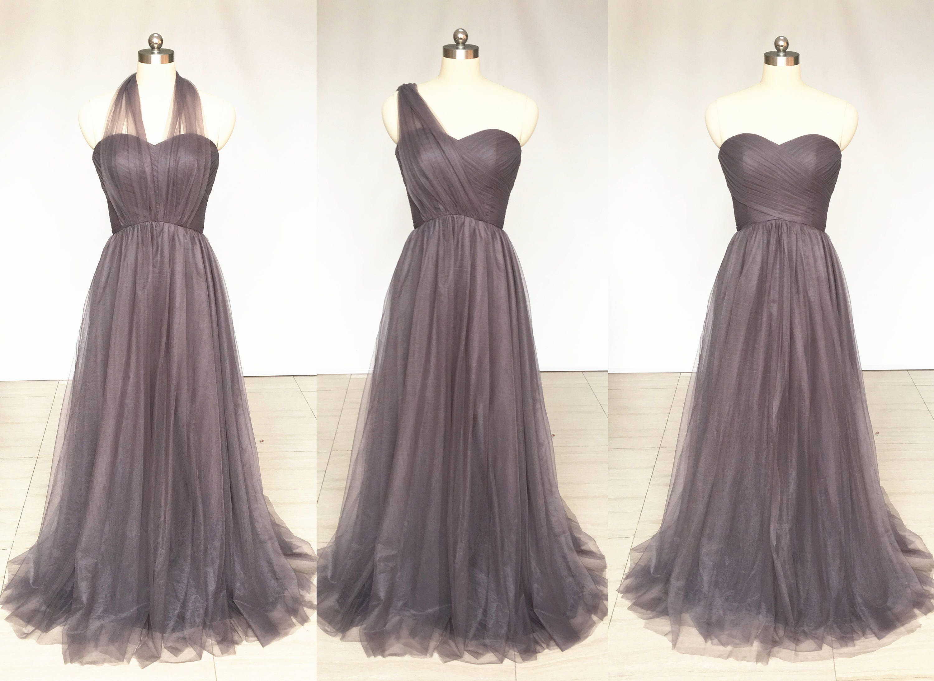 reputation first choose latest wide selection of designs Grey Sweetheart Chiffon Tulle Long Convertible Bridesmaid Dress