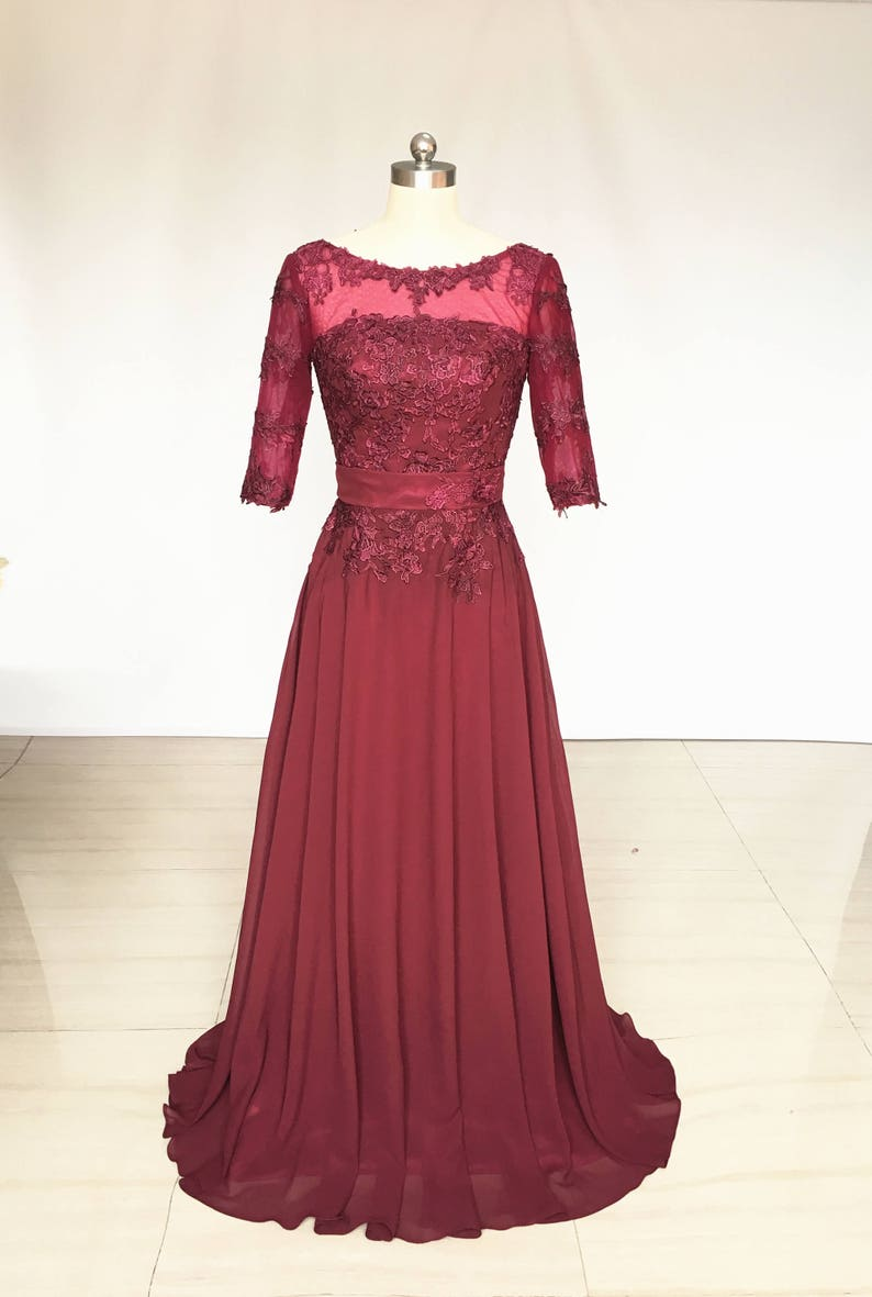 Scoop Burgundy Lace Chiffon Long Bridesmaid Dress with Half Sleeves