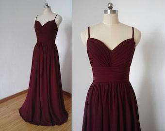 Spaghetti Straps Burgundy Chiffon Long Bridesmaid Dress
