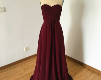 Sweetheart Burgundy Chiffon Long Bridesmaid Dress