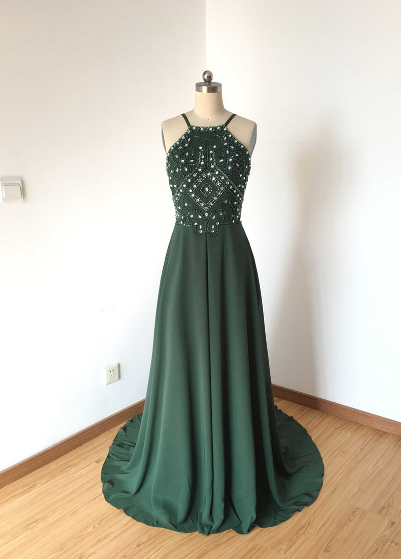 e05de470139f Backless Spaghetti Strap Dark Green Chiffon Long Prom Dress | Etsy