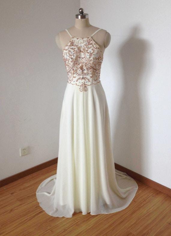Backless Spaghetti Straps Cream Chiffon Beaded Long Prom Dress | Etsy