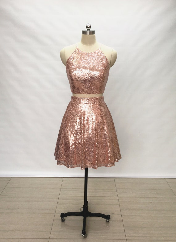Two Piece Rose Gold Sequin Short Homecoming Dress Etsy
