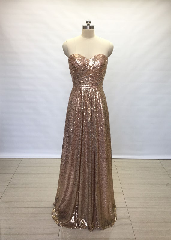 6c519790667 A-line Sweetheart Bronze Gold Sequin Long Bridesmaid Dress