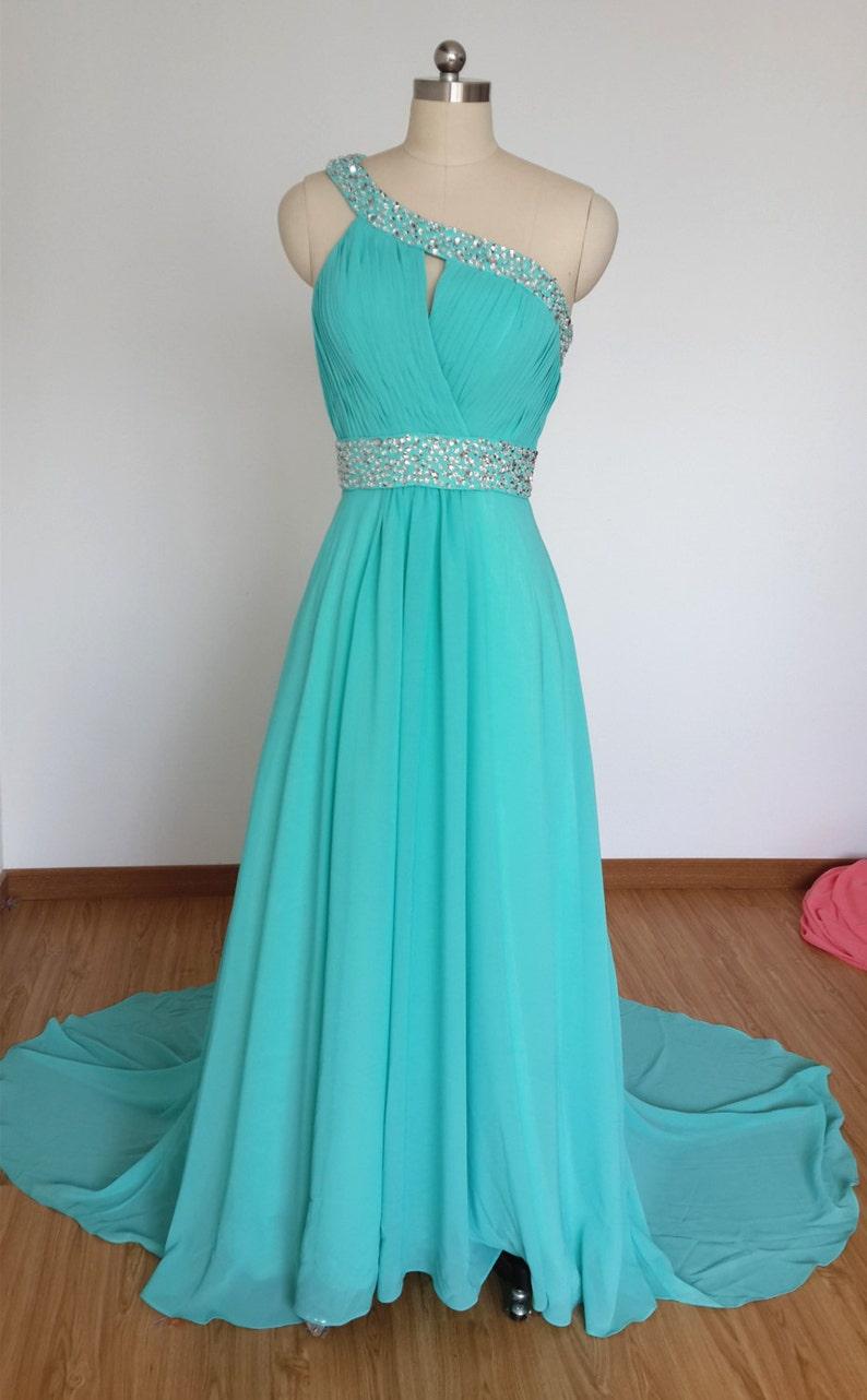 039c62df6b50 One-spalla Chiffon blu turchese perline Prom abito lungo con
