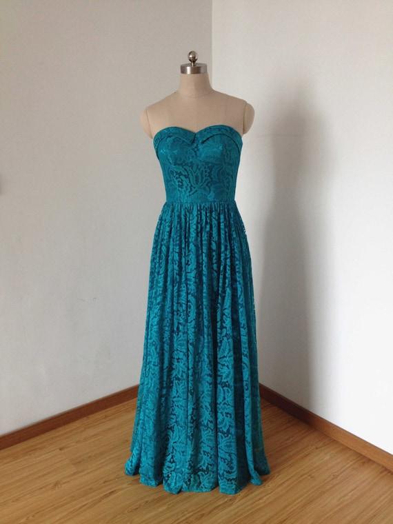 Sweetheart Teal Lace Long Bridesmaid Dress