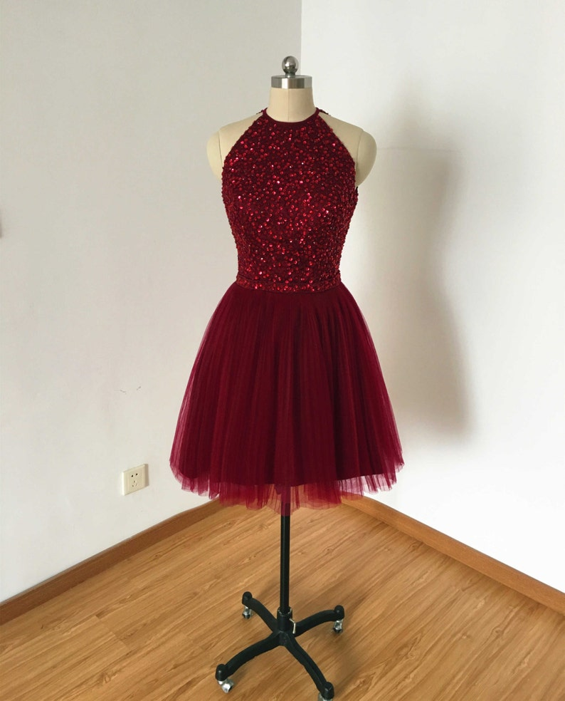 e9920639202 Backless Burgundy Tulle Short Homecoming Dress