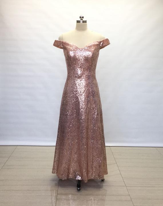 Sheath Off Shoulder Rose Gold Sequin Long Bridesmaid Dress