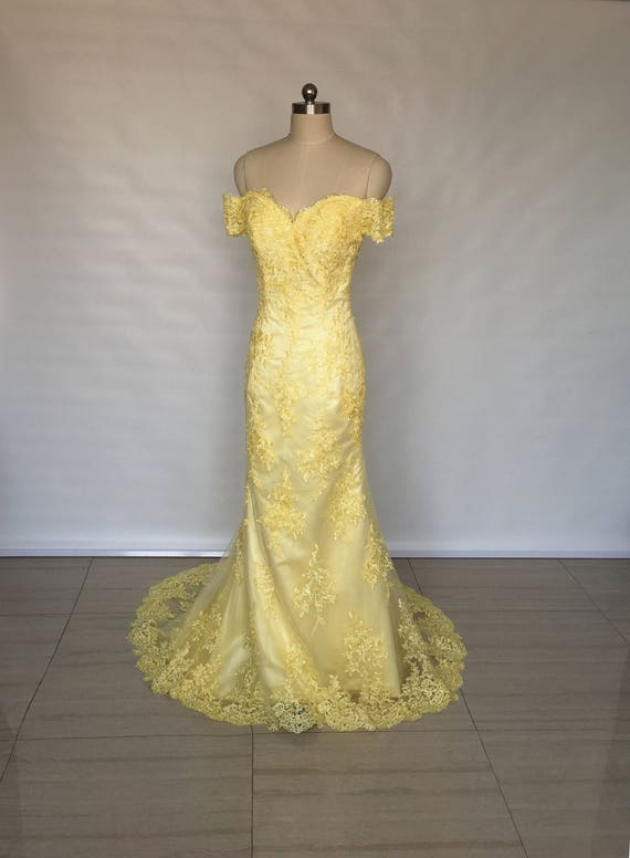 Off Shoulder Sweetheart Yellow Lace Long Prom Dress Mermaid