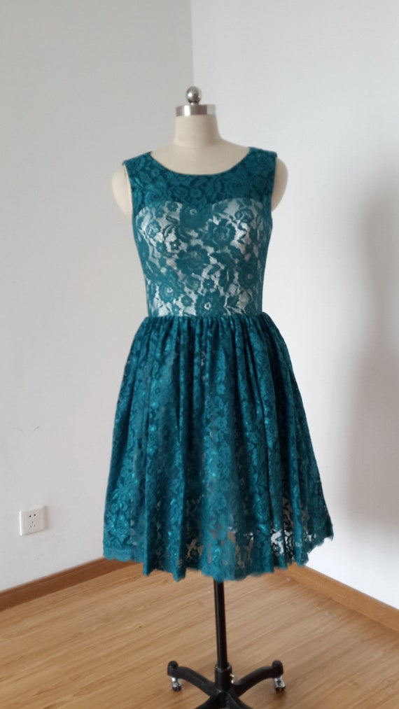 Scoop Dark Teal Lace Champagne Lining