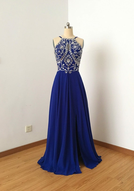 kid latest design discount price Backless Spaghetti Straps Royal Blue Chiffon Long Prom Dress with Slit and  Silver Beads