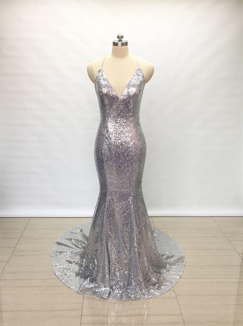 08d6e72603 Spaghetti Straps V-Neck Silver Sequin Long Prom Dress Mermaid