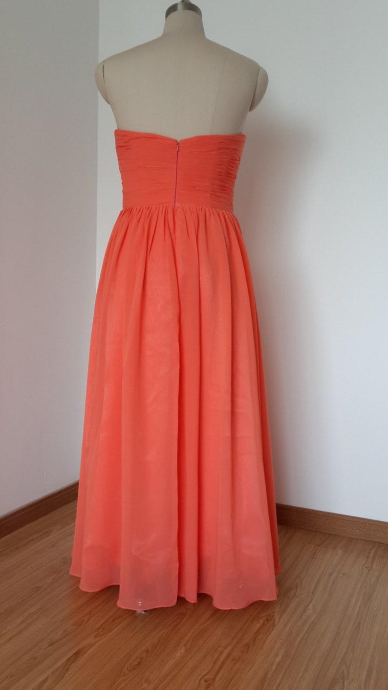 Sweetheart Coral Chiffon Long Bridesmaid Dress