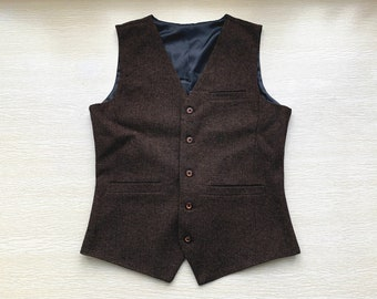 Mens Vest Made to Order Coffee Wedding Prom Waistcoat Casual Business V-neck 3 Pockets 5 Buttons