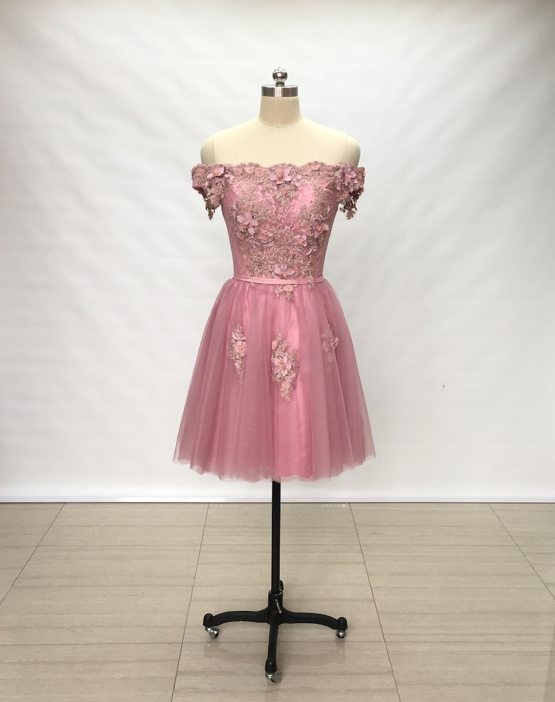 Off Shoulder Dusty Rose Lace Tulle Short Homecoming Dress 2018  0cd7720e3