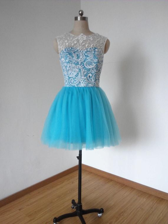 Ballkleid Elfenbein Spitze Türkis blau Tüll kurze Brautjungfer Kleid Prom Kleid Heimkehrkleid