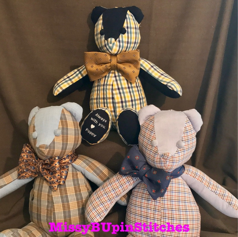 18 Memory Bear made from your loved ones clothing