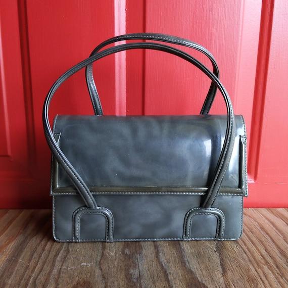 Tano of Madrid Gray Patent Leather Vintage Handbag