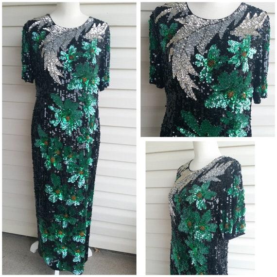 Vintage Fully Sequin Floral Evening Dress