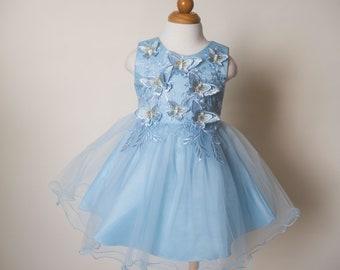 RTS, Butterfly Dress, Birthday Dress,Flower Girl Dress, 3D Applique Girl Dress, Light Blue Girl Dress , Princess Dress, Tulle Ruffles Dress
