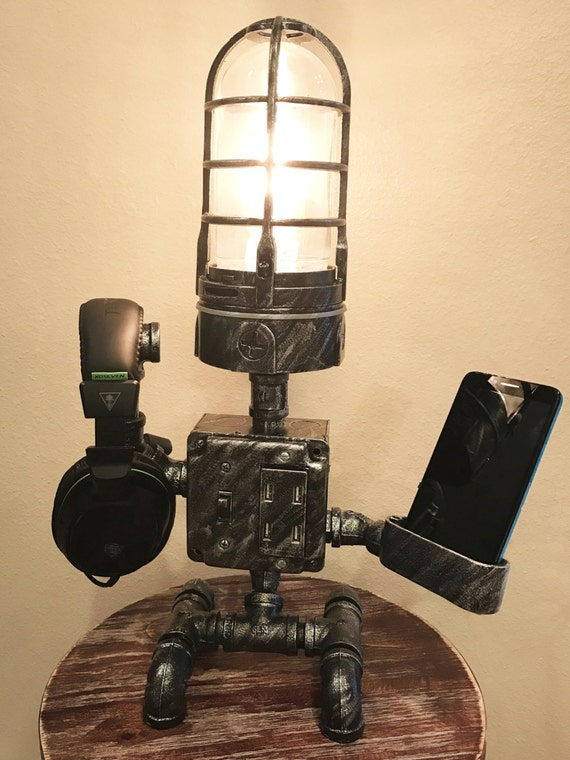STEAMPUNK Industrial ROBOT Lamp / USB Device Cradle & Charger : Alexa + Google Play ready