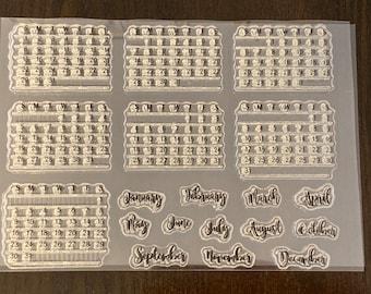 19 pc Monthly Calendar Bullet Journal Planner Clear Stamp Set